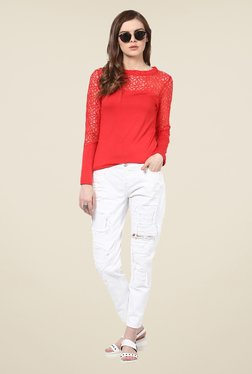 Harpa Red Lace Top