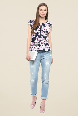 Harpa Navy Floral Print Top - Mp000000000541050