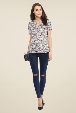 Harpa Grey Floral Print Top