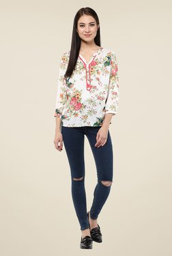 Harpa Off White Floral Print Top