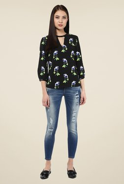 Harpa Black Floral Print Top