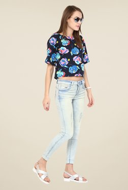 Harpa Navy Floral Print Top - Mp000000000540271