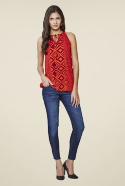 AND Orange Geometric Print Top