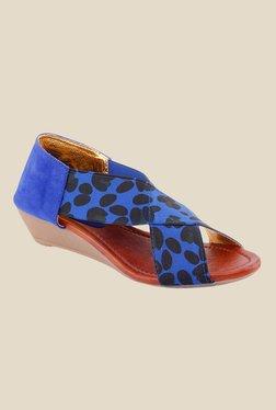Kielz Blue & Black Wedge Heeled Sandals