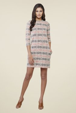 AND White Printed Dress