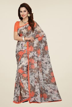 Ishin Grey & Orange Faux Georgette Floral Print Saree