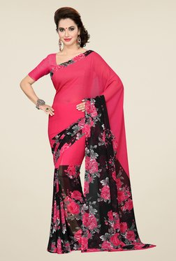Ishin Pink & Black Faux Georgette Floral Print Saree