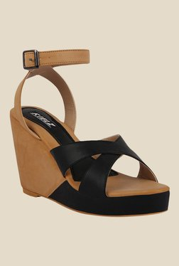 Kielz Black & Beige Ankle Strap Wedges