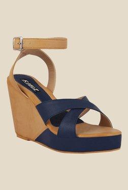 Kielz Navy & Beige Ankle Strap Wedges