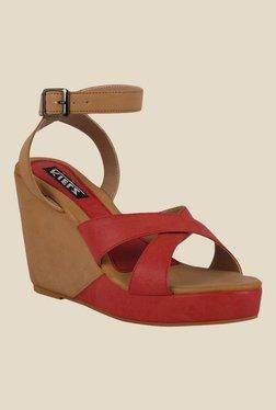 Kielz Red & Beige Ankle Strap Wedges