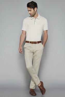 Ascot By Westside Beige Slim Fit Textured T Shirt