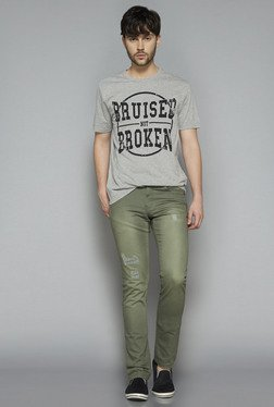 Nuon by Westside Grey Melange Slim Fit T Shirt