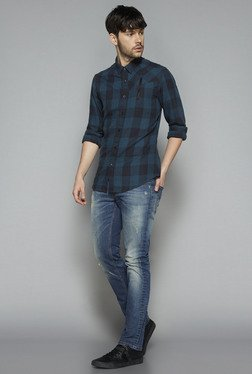 Nuon by Westside Teal Slim Fit Shirt