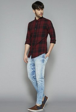 Nuon by Westside Maroon Slim Fit Shirt