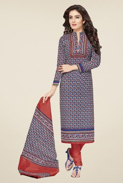 Salwar Studio Blue & Red Floral Print Dress Material