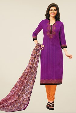 Salwar Studio Purple & Orange Striped Dress Material