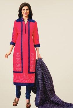 Salwar Studio Pink & Dark Blue Printed Dress Material