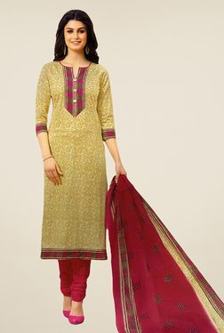 Salwar Studio Beige & Magenta Floral Print Dress Material