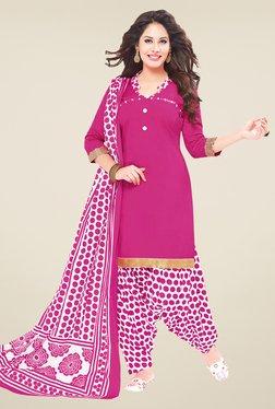 Salwar Studio Pink & White Polka Dots Dress Material