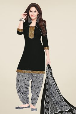 Salwar Studio Black & White Solid Dress Material