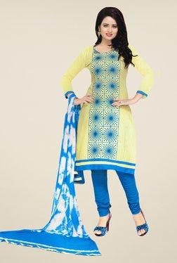 Salwar Studio Lime & Blue Embroidered Dress Material
