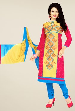 Salwar Studio Pink & Blue Embroidered Dress Material