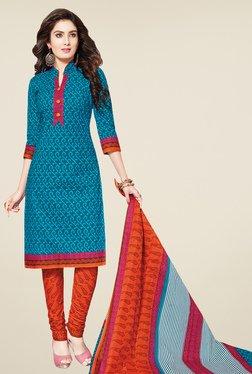 Salwar Studio Blue & Orange Printed Cotton Dress Material