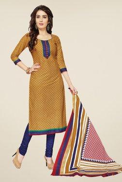 Salwar Studio Khaki & Dark Blue Printed Dress Material