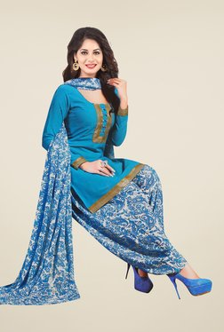 Salwar Studio Blue & Off White Solid Dress Material