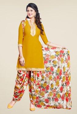 Salwar Studio Mustard & Off White Solid Dress Material