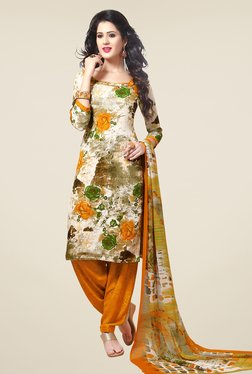 Salwar Studio Off White & Orange Floral Print Dress Material