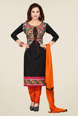 Ishin Black & Orange Printed French Crepe Dress Material