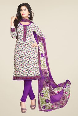 Salwar Studio Off White & Purple Floral Print Dress Material