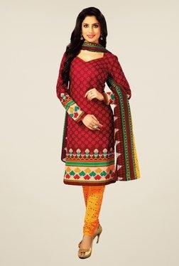 Salwar Studio Maroon & Yellow Floral Print Dress Material