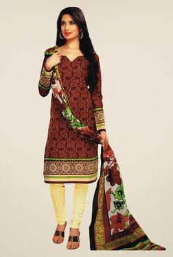 Salwar Studio Brown & Cream Paisley Print Dress Material
