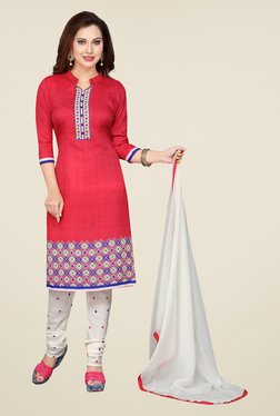 Ishin Red & White Printed French Crepe Dress Material