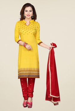 Ishin Yellow & Red Printed French Crepe Dress Material