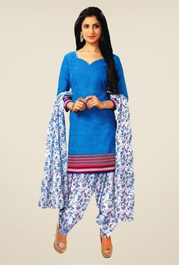 Salwar Studio Blue & Off White Cotton Dress Material