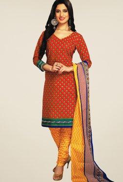 Salwar Studio Red & Orange Printed Cotton Dress Material