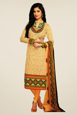 Salwar Studio Beige & Orange Printed Cotton Dress Material