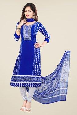Salwar Studio Blue & Off White Printed Dress Material