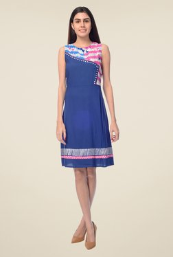 Desi Belle Blue Printed Dress