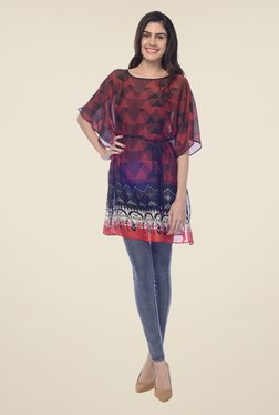 Desi Belle Maroon Printed Top