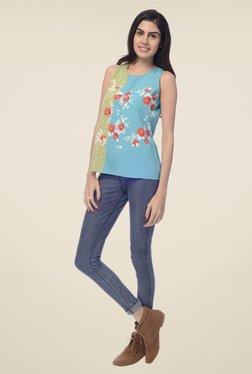 Desi Belle Sky Blue Floral Print Top