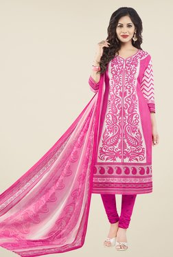 Salwar Studio Pink Paisley Print Cotton Dress Material