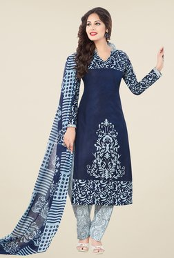 Salwar Studio Navy & White Printed Cotton Dress Material