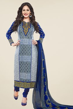 Salwar Studio Grey & Blue Floral Print Cotton Dress Material