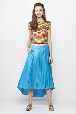 Global Desi Turquoise Solid Skirt