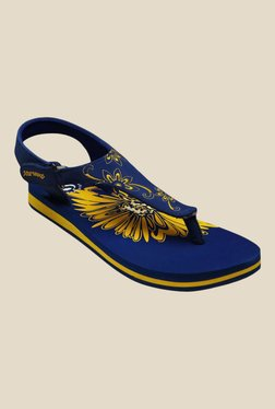 Solethreads Florence Royal Blue & Yellow Back Strap Sandals