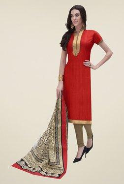 Ishin Red & Beige Printed Bhagalpuri Silk Dress Material